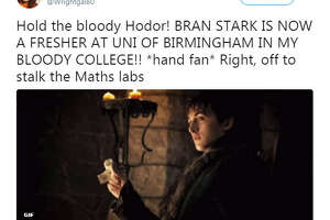 Isaac Wright, who plays Bran Stark on Game of Thrones, has started college at the University of Birmingham in the United Kingdom and people can't handle it.  Image source:  Twitter