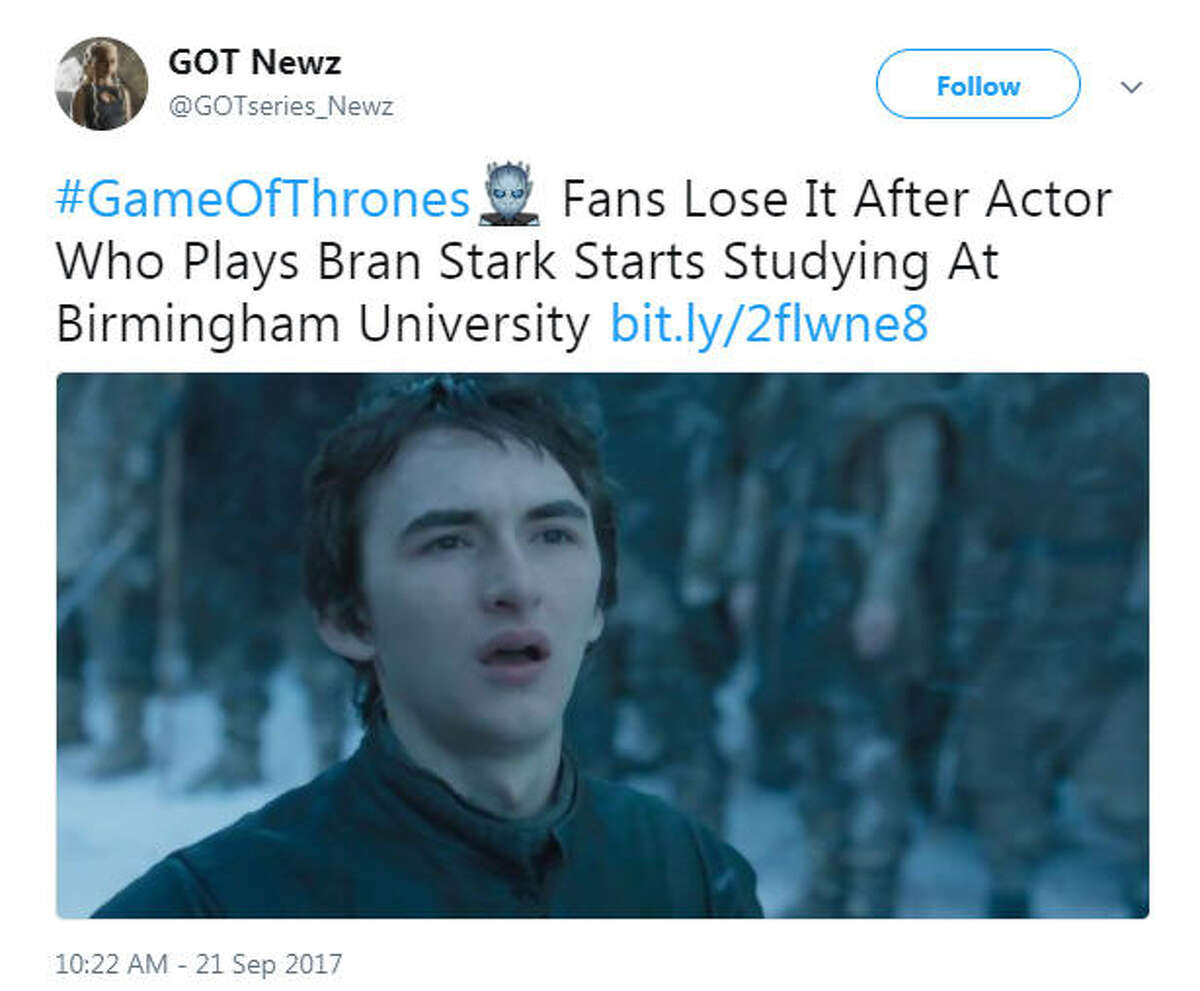 Isaac Wright, who plays Bran Stark on Game of Thrones, has started college at the University of Birmingham in the United Kingdom and people can't handle it.Image source: Twitter