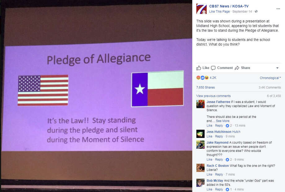 A presentation telling students that they have stand for the Pledge of Allegiance because it's the law has caused controversy at Midland High School in West Texas. Image source: Facebook  >>Things you didn't know about the American flag Photo: CBS7 News Station Via Facebook