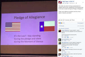 A presentation telling students that they have stand for the Pledge of Allegiance because it's the law has caused controversy at Midland High School in West Texas.   Image source:  Facebook