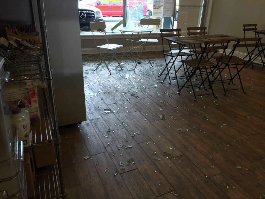 Damage from a car that accidentally drove through the front window of Embody in the Noroton Heights Shopping Center in Darien, Conn. on Sept. 21, 2017 Photo: Contributed Photo / Contributed Photo / Darien News contributed