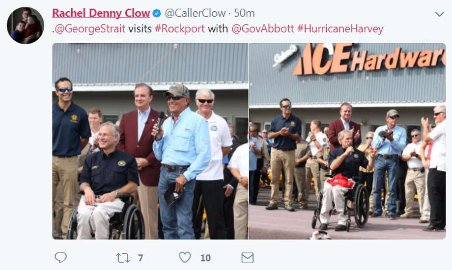"""@GeorgeStrait visits #Rockport with @GovAbbott #HurricaneHarvey"" @CallerClow Photo: Rachel Denny Clow Via Twitter"