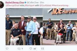 """@GeorgeStrait visits #Rockport with @GovAbbott #HurricaneHarvey"""