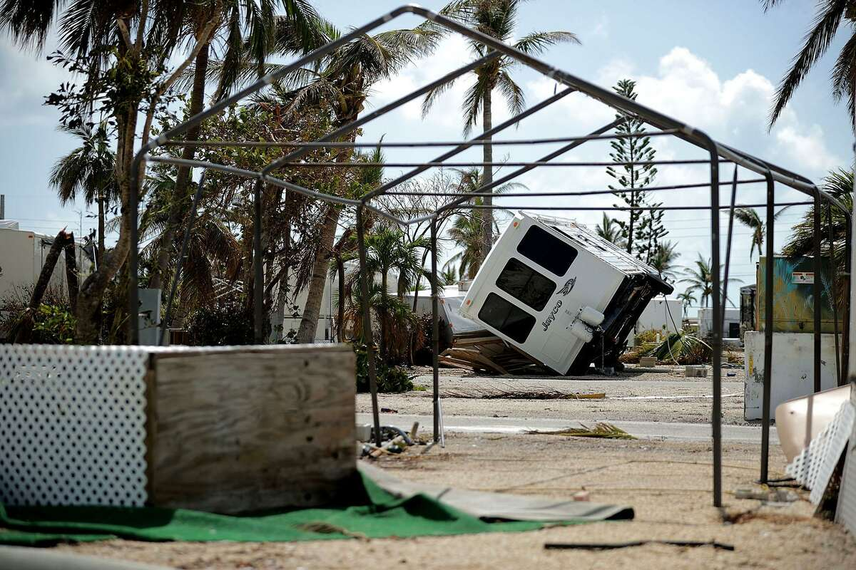 Recreational vehicle trailers are scattered and tossed after Hurricane Irma blew through at the Sunshine Key RV Resort and Marina Sept. 13 on Big Pine Key, Fla.