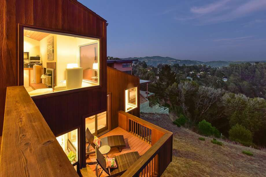 Multiple decks stretch off the Mill Valley home. Photo: Open Homes Photography