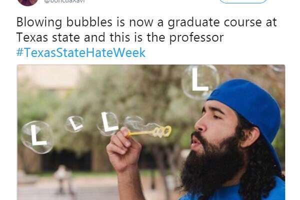 @boricuaXavi: Blowing bubbles is now a graduate course at Texas state and this is the professor #TexasStateHateWeek