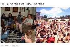 "@YamesDeStefano: ""UTSA parties vs TXST parties"""