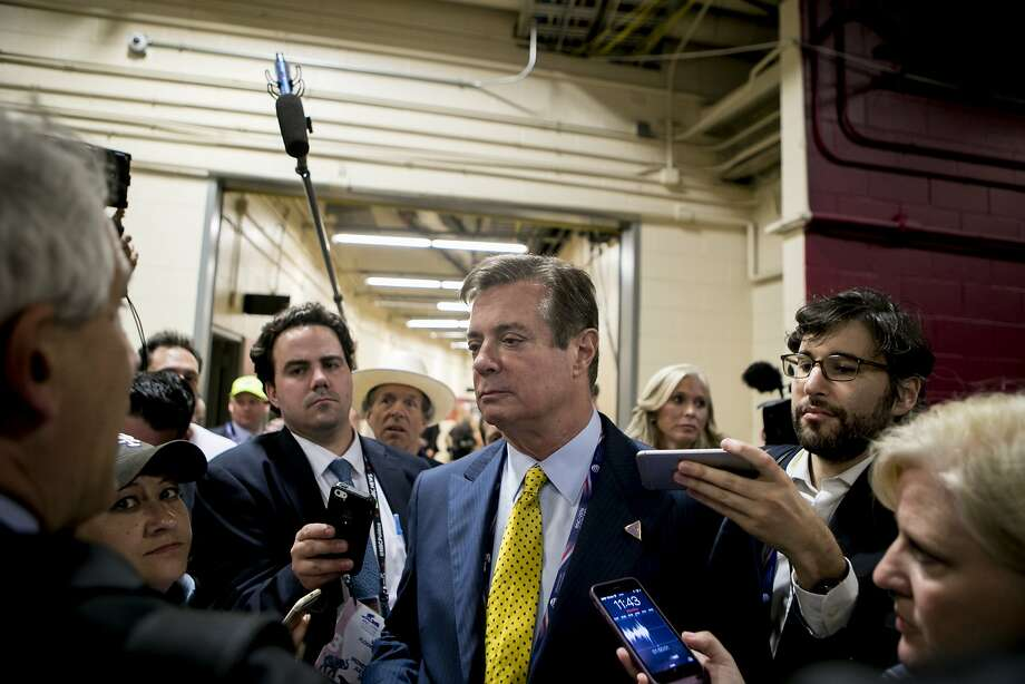 Paul Manafort talks to reporters at the GOP convention in Cleveland last year. Manafort, then Donald Trump's campaign manager, is under scrutiny for his business and political dealings. Photo: SAM HODGSON, NYT