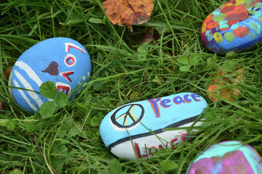 Peace rocks painted by students at Saint Rita School in Hamden to celebrate International Peace Day. Photo: Clare Dignan / Hearst Connecticut Media /