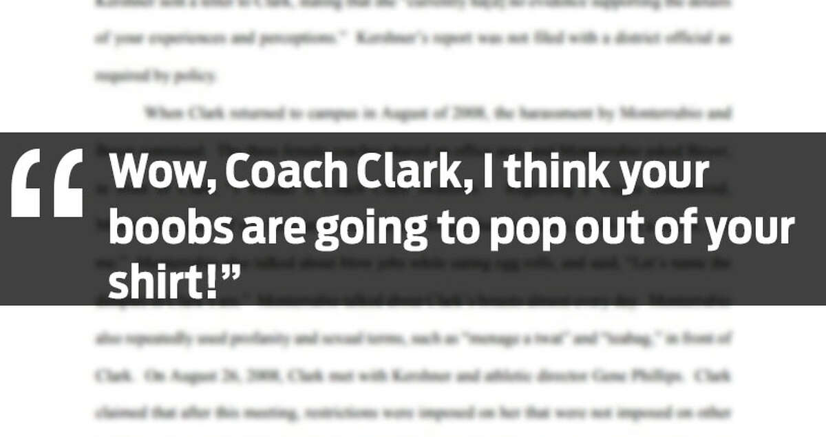 The photo above is a quote listed in a harassment lawsuit filed by a former Alamo Heights Junior High School coach. She alleges other coaches said the things in the quotes above to her.