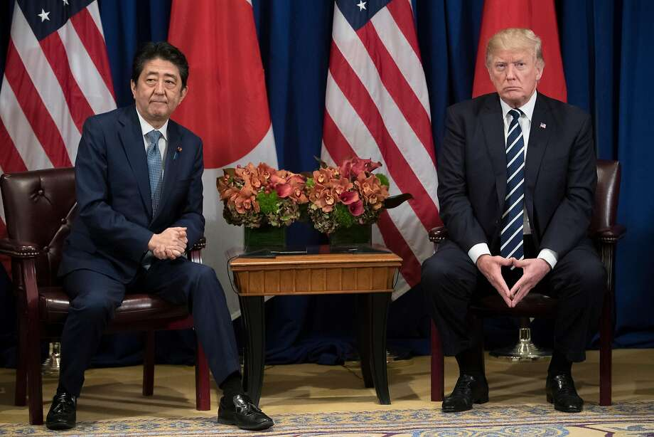Prime Minister Shinzo Abe of Japan and President Trump meet on the sidelines of the U.N. General Assembly, in a show of solidarity to their commitment to confront North Korea. Photo: TOM BRENNER, NYT