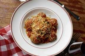 Spaghetti and meatballs at Buddy V's.