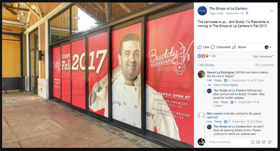 The Shops at La Cantera shared this photo of the forthcoming Buddy V's location on its Facebook Page in September. The restaurant will open Jan. 29. Photo: Facebook Screengrab