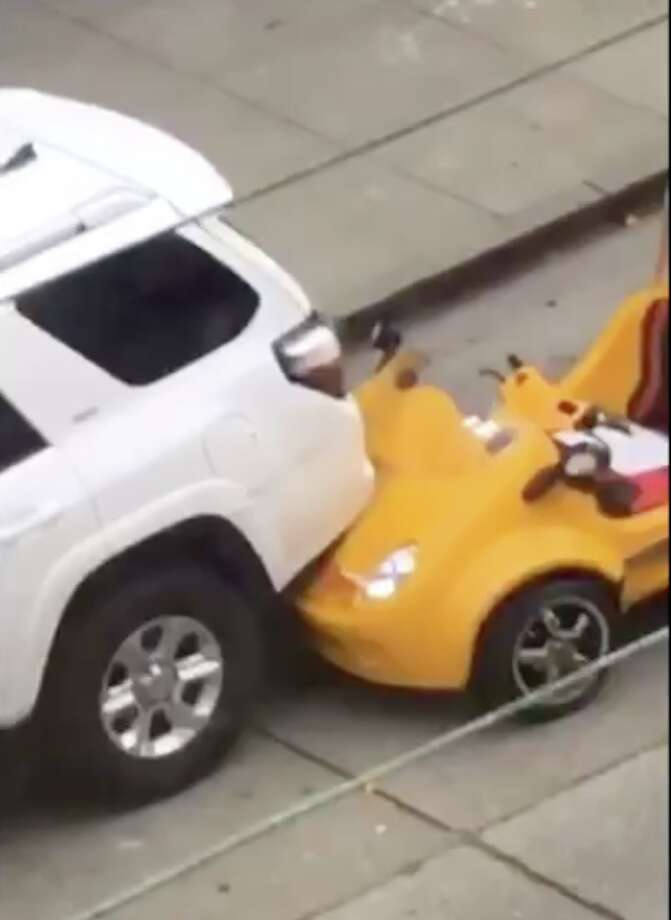 A GoCar collided with an SUV at Leavenworth and Chestnut streets in San Francisco on Sep. 20, 2017. Photo: Courtesy: Audrey Blue