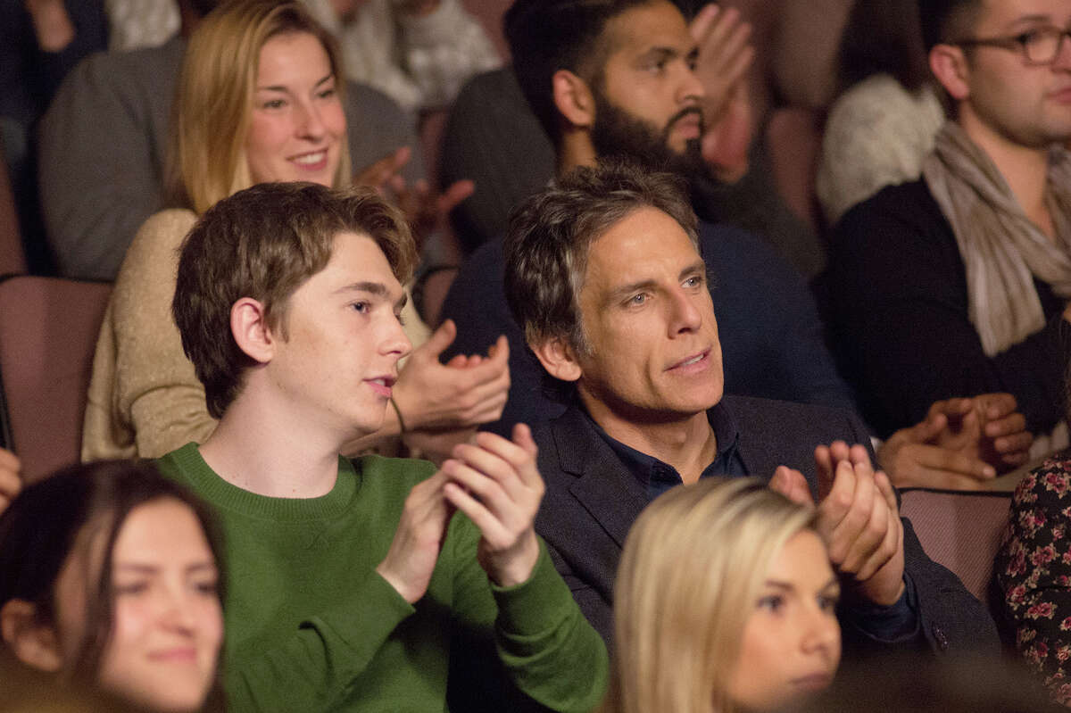 """Austin Abrams (left) stars as """"Troy"""" and Ben Stiller (right) stars as """"Brad"""" in director Mike White's """"Brad's Status,"""" about a father accompanying his son on a college tour. MUST CREDIT: Jonathan Wenk - Amazon Studios."""
