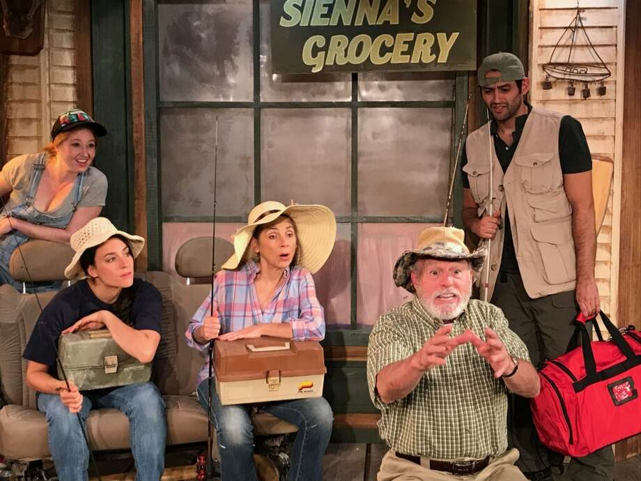 (L to R) Jes Bedwinek, Elizabeth Pietrangelo, Abby DeGange, Don Paul Shannon and Bernardo Brandt in a scene from THE GREAT KOOSHOG LAKE HOLLIS MCCAULEY FISHING DERBY now playing at the Lake Theatre in Lake George.