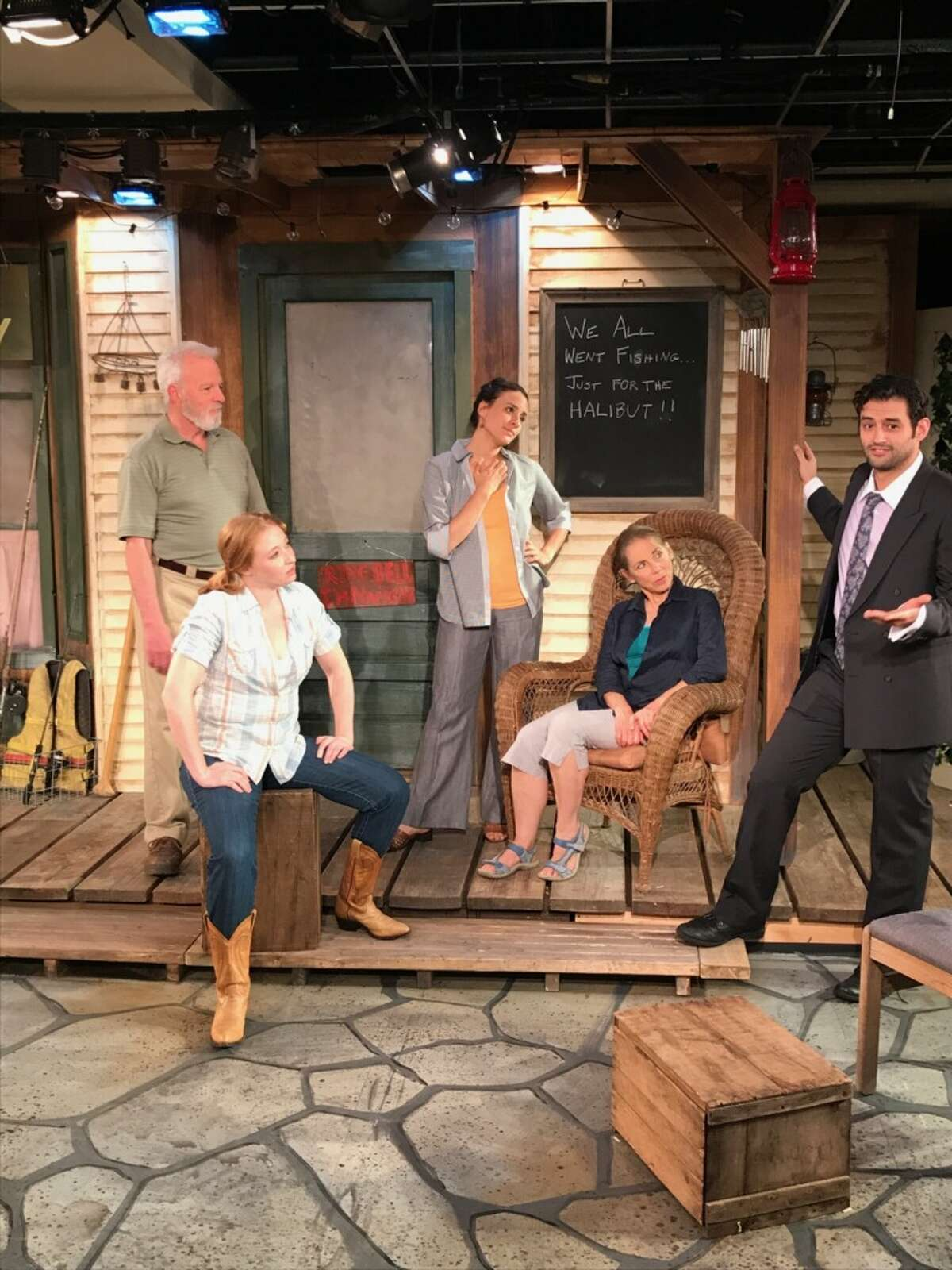 Jes Bedwinek, Elizabeth Pietrangelo, Abby DeGange, Don Paul Shannon and Bernardo Brandt in a scene from THE GREAT KOOSHOG LAKE HOLLIS MCCAULEY FISHING DERBY now playing at the Lake Theatre in Lake George.