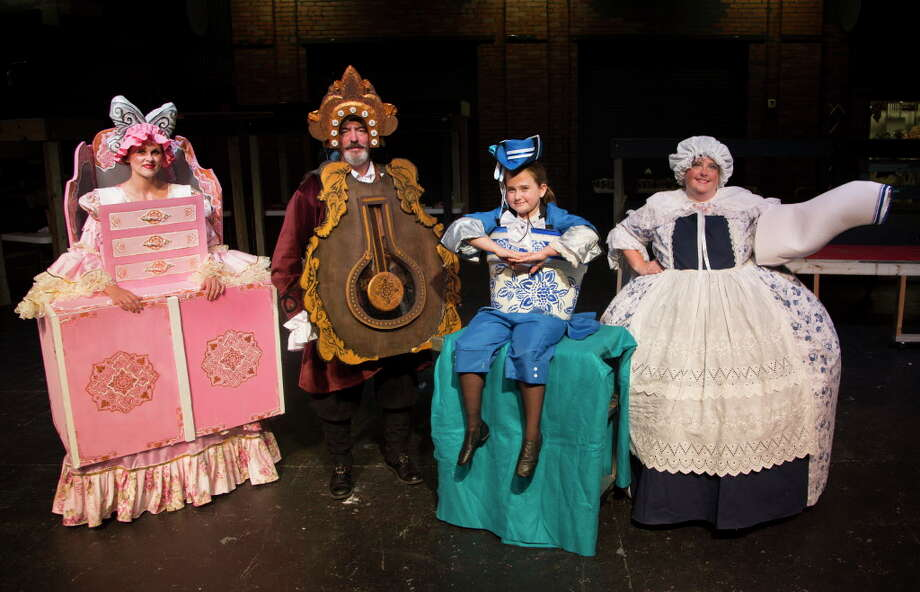 """From left, Sarah Maddux-Kerr as Madam Wardrobe, Zach Kirk as Cogsworth, Della Wallace as Chip and Kimberly Lambright as Mrs. Potts in the Players' """"Beauty and The Beast."""" The show has its final run  Sept. 24 at 2 p.m. / Internal"""