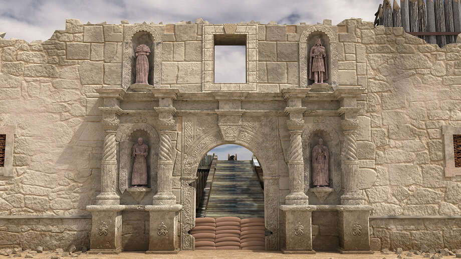 Alamo facade without statues. Photo: Courtesy, James Boddie