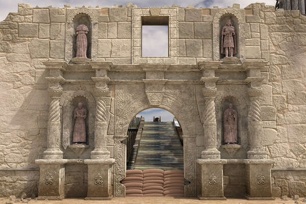 Alamo facade without statues.