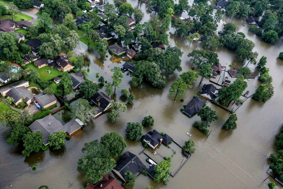 A neighborhood is inundated by floodwaters from Hurricane Harvey on Aug. 29.