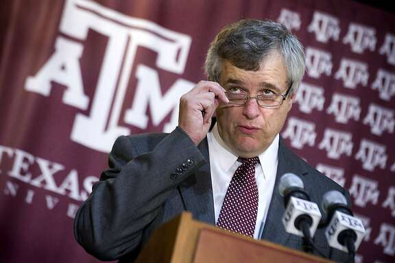 Eric Hyman addresses the media after being introduced as the new athletic director at Texas A&M University during a news conference, Saturday, June 30, 2012, in College Station, Texas. (AP Photo/Bryan-College Station Eagle, Stuart Villanueva)