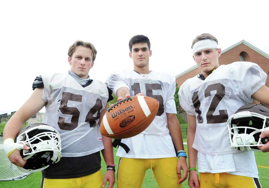 Brunswick School football captains from left, Nick Mosher, Nick Henkel and Sean Amill during football practice at the school in Greenwich, Conn., Wednesday, Sept. 20, 2017. Photo: Bob Luckey Jr. / Hearst Connecticut Media / Greenwich Time