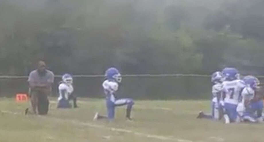 Every player on the Cahokia Quarterback Club football team took a knee during the national anthem before a game on Sunday.>>Here's a look at some of the NFL anthem potests this year...