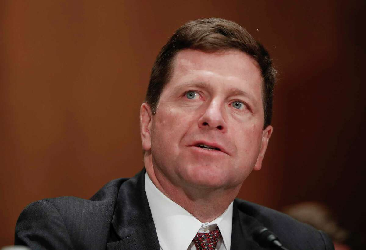 """FILE- In this March 23, 2017, file photo, Securities and Exchange Commission (SEC) Chairman nominee Jay Clayton testifies on Capitol Hill in Washington at his confirmation hearing before the Senate Banking Committee. The SEC says a cyber breach of a filing system it uses may have provided the basis for some illegal trading in 2016. In a statement posted Wednesday, Sept. 20, evening on the SEC?'s website, Clayton says a review of the agency?'s cybersecurity risk profile determined that the previously detected ?""""incident?"""" was caused by ?""""a software vulnerability?"""" in its EDGAR filing system. (AP Photo/Pablo Martinez Monsivais, File) ORG XMIT: NYJK408"""
