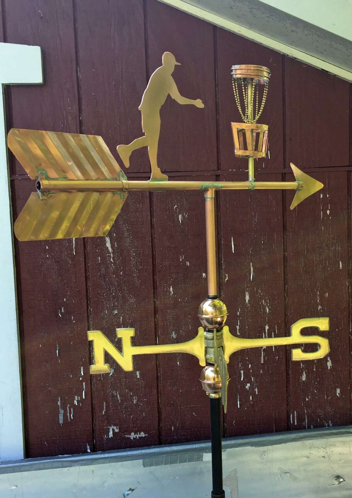 Al Ferris Jr., of New Milford, has been making objects out of copper since the 1980s, including hundreds of weather vanes. Recently, he was asked by a customer to make a weather vane for a Frisbee golf course.