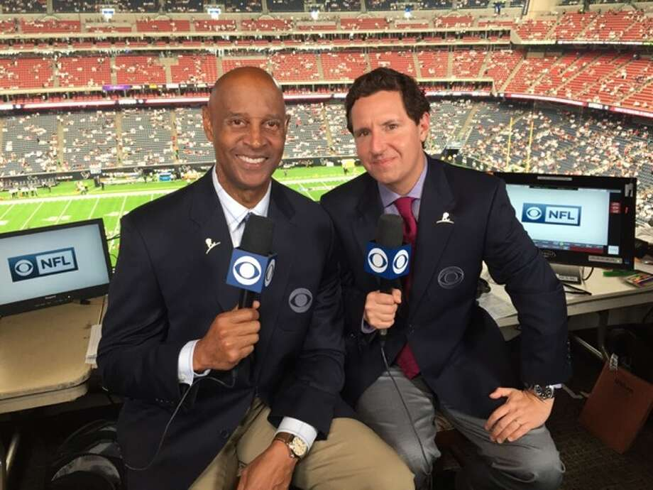 The NFL on CBS broadcast team of analyst James Lofton, left, and play-by-play man Andrew Catalon. (Courtesy Andrew Catalon)