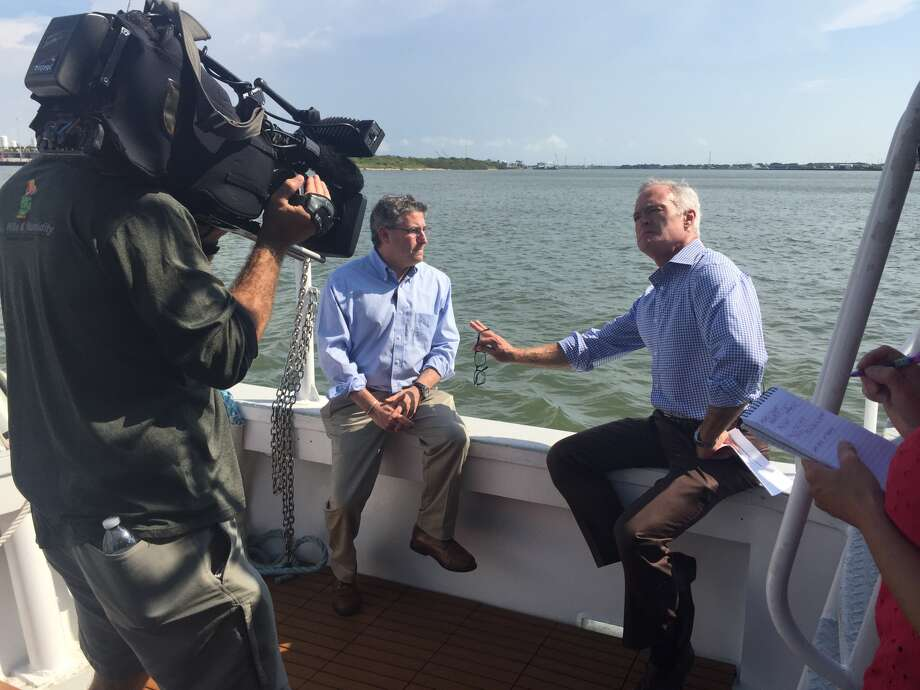 """Dr. Sam Brody, a Texas A&M at Galveston researcher, is interviewed by CBS' """"60 Minutes"""" for a program scheduled to air on Sunday Sept. 24, 2017. Brody will discuss the proposed Ike Dike project.&"""
