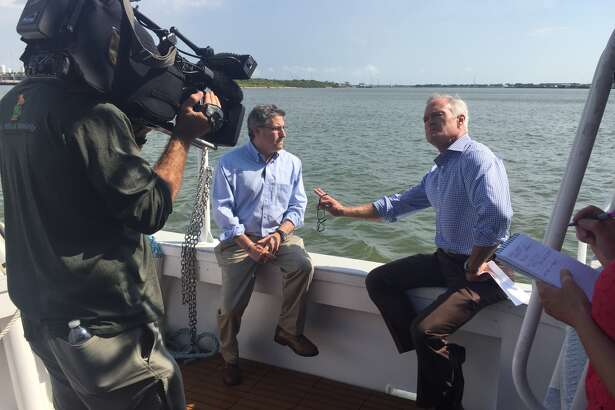"Dr. Sam Brody, a Texas A&M at Galveston researcher, is interviewed by CBS' ""60 Minutes"" for a program scheduled to air on Sunday Sept. 24, 2017. Brody will discuss the proposed Ike Dike project.  &"