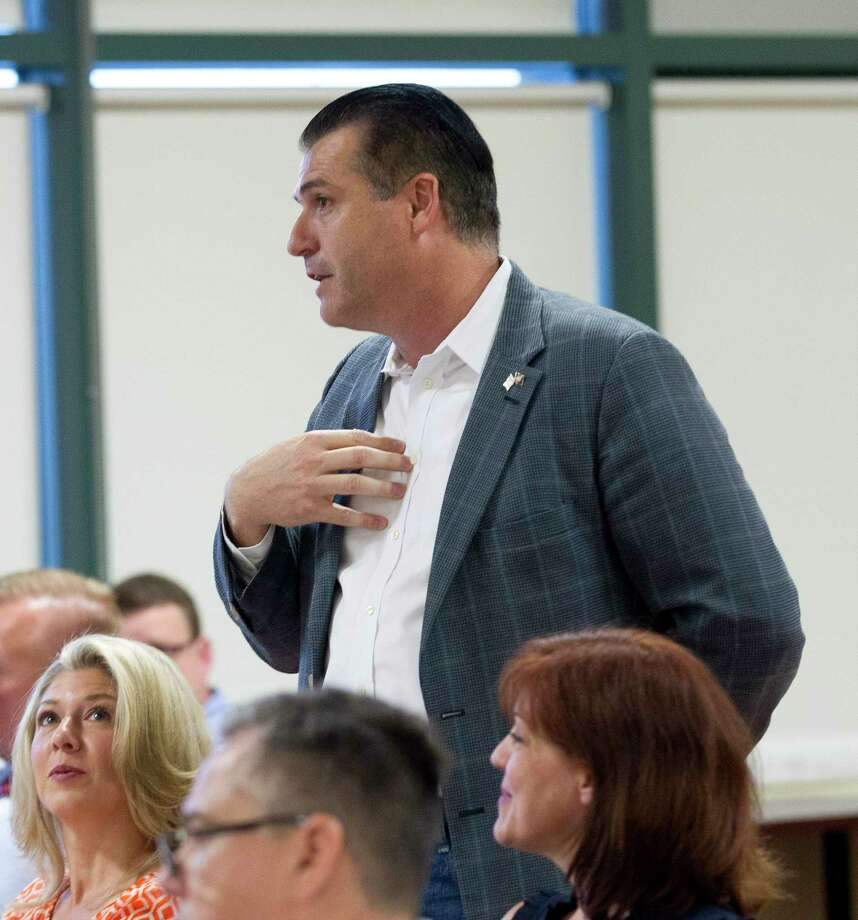 Gordy Bunch, chairman of The Woodlands Township Board of Directors, proposes Confederate monuments and statues taken down around the state could be relocated to The Woodlands. He made the offer during a Texas Patriots PAC meeting, Tuesday, Sept. 19, 2017, in The Woodlands. Photo: Jason Fochtman, Staff Photographer / © 2017 Houston Chronicle