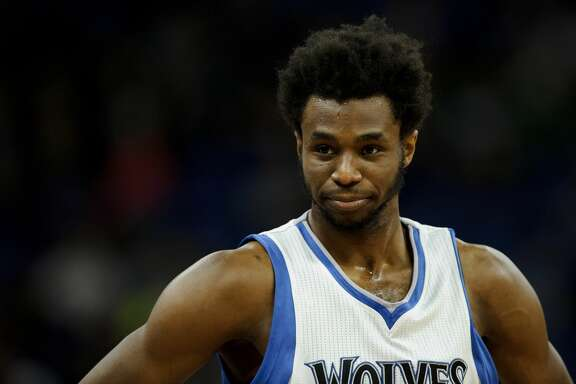MINNEAPOLIS, MN - MARCH 21: Andrew Wiggins #22 of the Minnesota Timberwolves looks on during the third quarter of the game against the San Antonio Spurs on March 21, 2017 at the Target Center in Minneapolis, Minnesota. The Spurs defeated the Timberwolves 100-93. NOTE TO USER: User expressly acknowledges and agrees that, by downloading and or using this Photograph, user is consenting to the terms and conditions of the Getty Images License Agreement. (Photo by Hannah Foslien/Getty Images)
