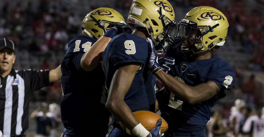 Klein Collins wide receiver Alex Brown (9) celebrates with AJ Bennett (2) after scoring a touchdown in a high school football game at Klein Memorial Stadium on Thursday, Sept. 21, 2017, in Klein, Texas. (Joe Buvid / For the Chronicle) Photo: Joe Buvid/For The Houston Chronicle