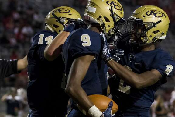 Klein Collins wide receiver Alex Brown (9) celebrates with AJ Bennett (2) after scoring a touchdown in a high school football game at Klein Memorial Stadium on Thursday, Sept. 21, 2017, in Klein, Texas. (Joe Buvid / For the Chronicle)