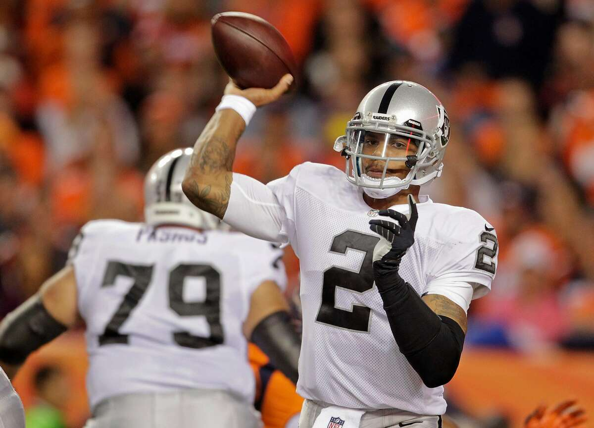 FILE - Oakland Raiders quarterback Terrelle Pryor (2) throws against the Denver Broncos in the second quarter of an NFL football game, Monday, Sept. 23, 2013, in Denver. Pryor was reportedly hurt in a stabbing at his Pittsburgh apartment Friday night. He underwent emergency surgery early Saturday morning.