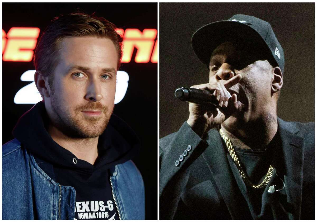 This combination photo shows Ryan Gosling at CinemaCon 2017 on March 27, 2017, in Las Vegas, left, and Jay Z performing at a campaign rally for Democratic presidential candidate Hillary Clinton in Cleveland on Nov. 4, 2016. Gosling will host the 43rd season opener of