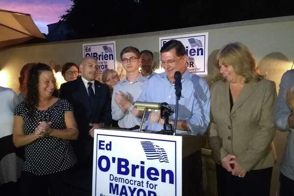 Mayor Ed O'Brien gets ready to announce to supporters that he'll be a write in candidate for mayor.
