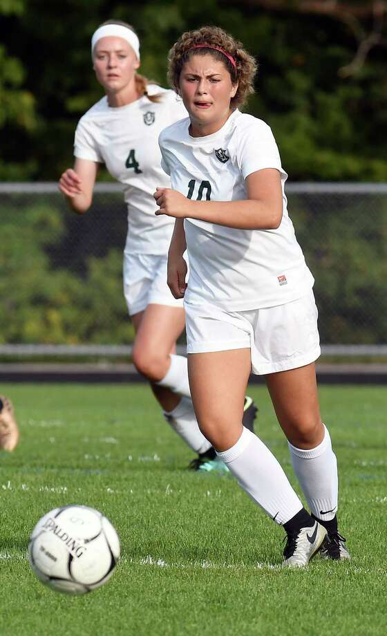 Schalmont's Davia Rossi (10) moves the ball against Holy Names Academy during a Section II Class B girls' high school soccer game in Rotterdam, N.Y., Thursday, Sept. 21, 2017. (Hans Pennink / Special to the Times Union) ORG XMIT: HP105 Photo: Hans Pennink / Hans Pennink
