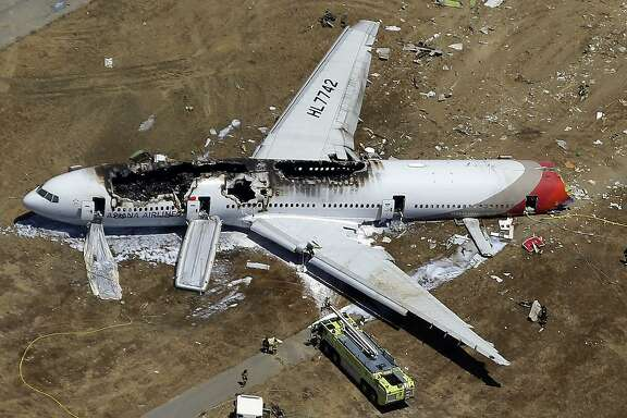 FILE - In this July 6, 2013, aerial file photo, the wreckage of Asiana Flight 214 lies on the ground after it crashed at the San Francisco International Airport in San Francisco. An attorney overseeing lawsuits stemming from a fatal plane crash in San Francisco four years ago says the last remaining suit in the U.S. has been settled. Ronald Goldman said his client, Kyung Rhan Rha, reached a deal with Asiana Airlines on Thursday, Sept. 21, 2017, just as her case was headed for trial. The terms of the settlement were confidential. (AP Photo/Marcio Jose Sanchez, File)