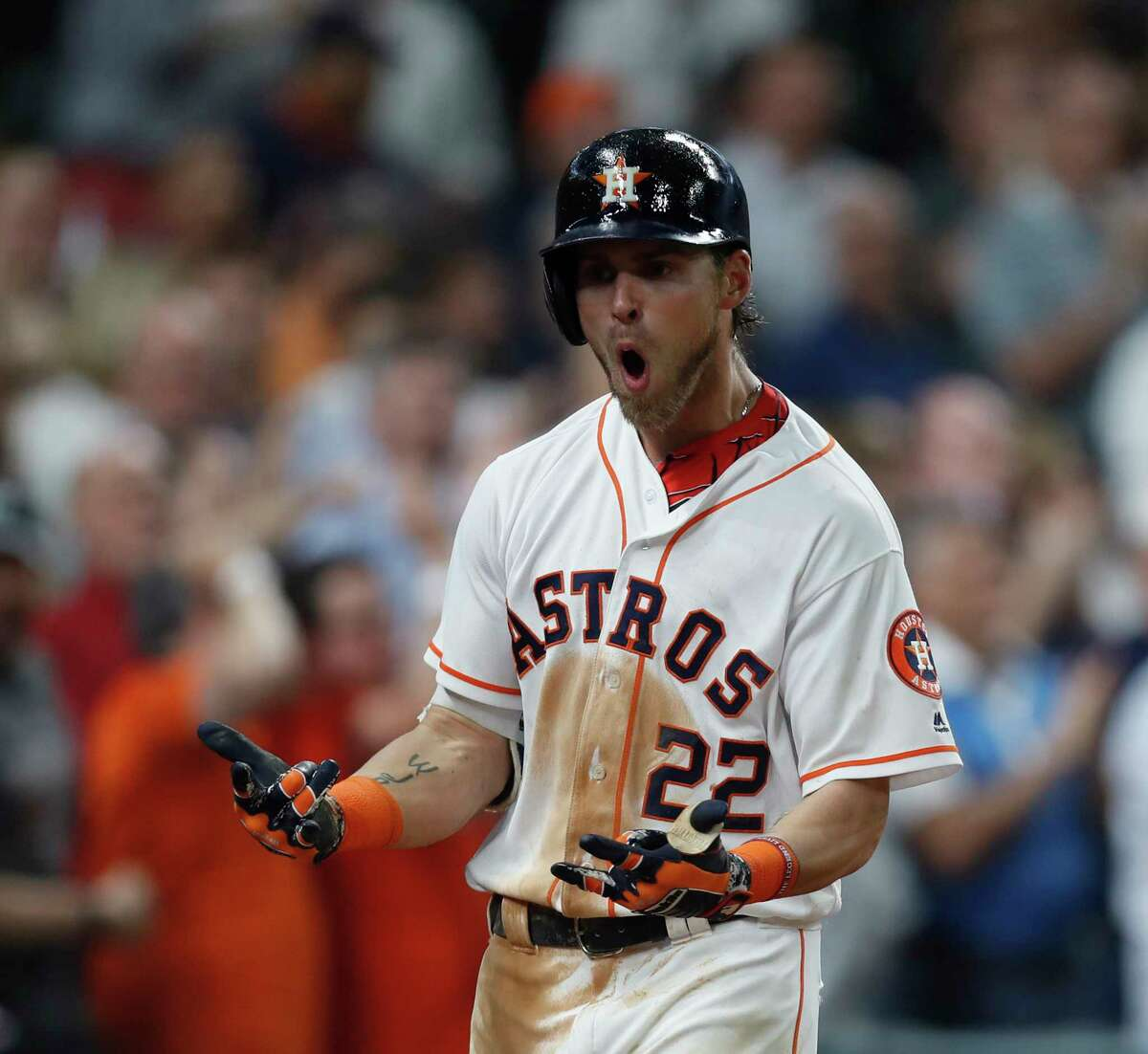 Houston Astros Josh Reddick (22) reacts after hitting his home run during the seventh inning of an MLB baseball game at Minute Maid Park, Wednesday, April 19, 2017, in Houston. ( Karen Warren / Houston Chronicle )