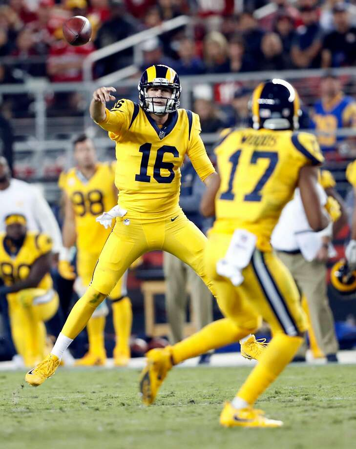 Los Angeles Rams' Jared Goff passes to Robert Woods in 3rd quarter during Rams' 41-39 win over San Francisco 49ers in NFL game at Levi's Stadium in Santa Clara, Calif., on Thursday, September 21, 2017. Photo: Scott Strazzante, The Chronicle