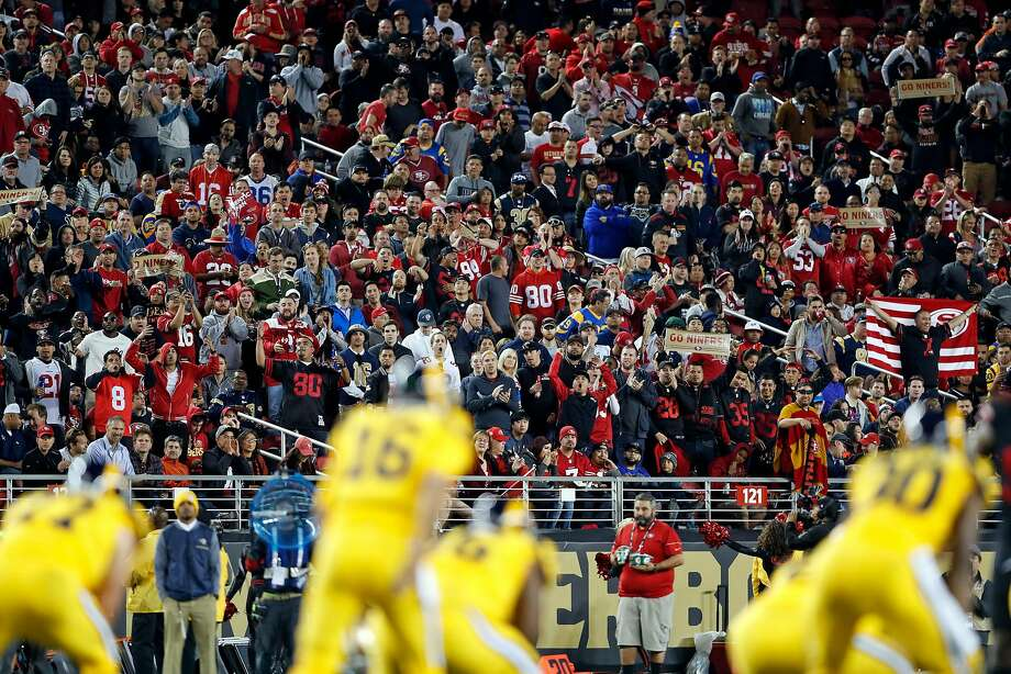 Fans watch San Francisco 49ers play Los Angeles Rams in 3rd quarter during Rams' 41-39 win in NFL game at Levi's Stadium in Santa Clara, Calif., on Thursday, September 21, 2017. Photo: Scott Strazzante, The Chronicle