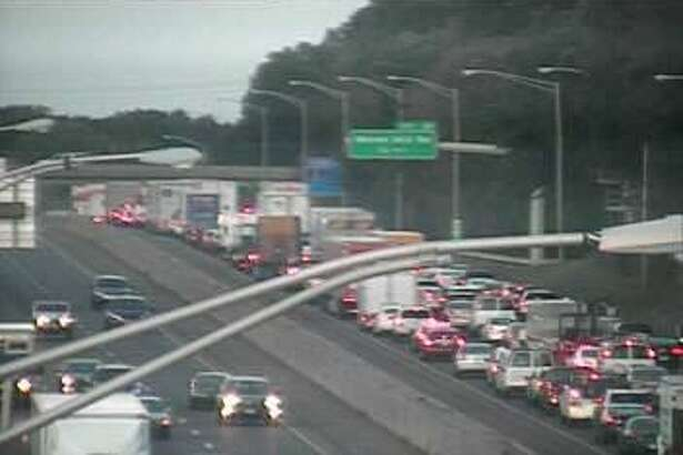 Southbound I-95 traffic is jammed in West Haven following a tractor-trailer rollover on Friday, Sept. 22, 2017. The right and center lanes are closed between Exits 42 and 41.