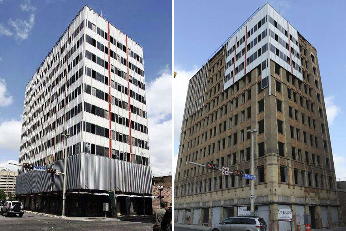 Under a development plan approved by the city of San Antonio's Historic and Design Review Commission (HDRC) in January, workers began cutting off the metal skin of the Hedrick Building a couple of weeks ago, revealing a wonderfully detailed brick and limestone facade with Art Deco lines and intricate terra cotta Spanish Colonial detailing.