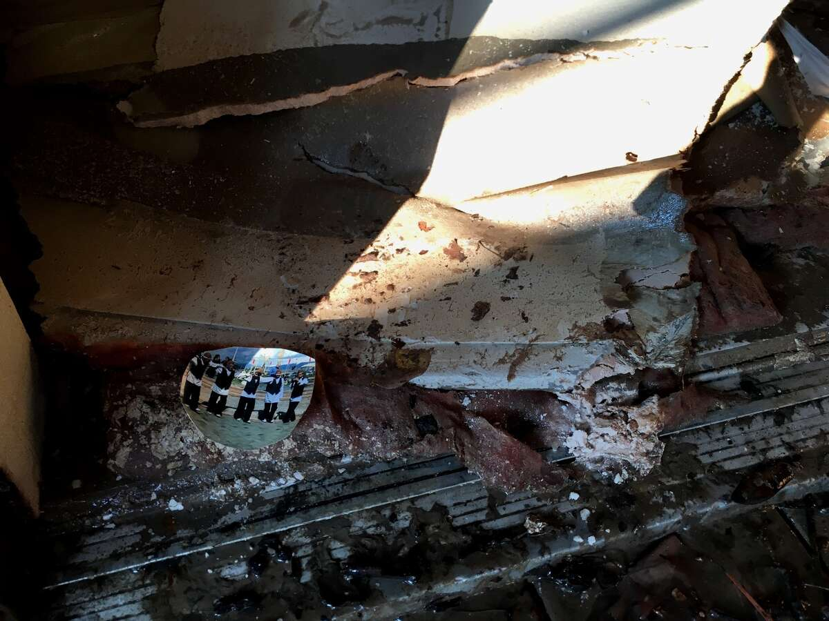 Floodwaters damaged years of artwork and other artifcats in Mohsenin's Houston studio. But beauty can be found in the damage.