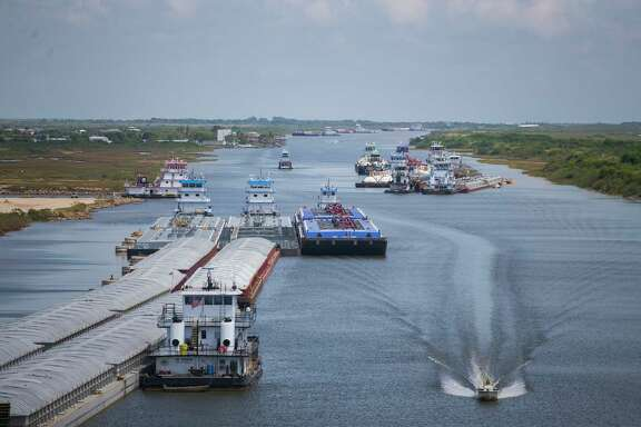 Barges are backed up and cannot currently travel through the Gulf Intracoastal Waterway east of the Colorado River Locks in Matagorda, Texas until the silt buildup is remedied.