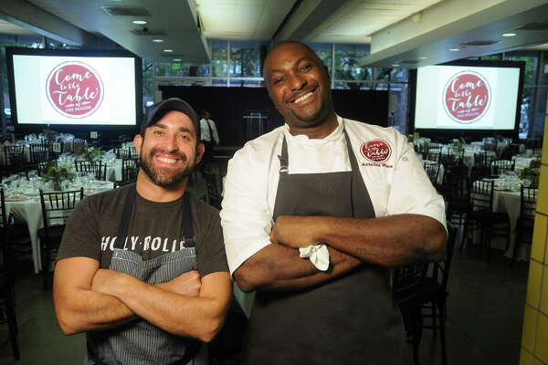 Chefs Lyle Bento and Antoine Ware at the Come to the Table at The Beacon event downtown Thursday Sept. 21, 2017.